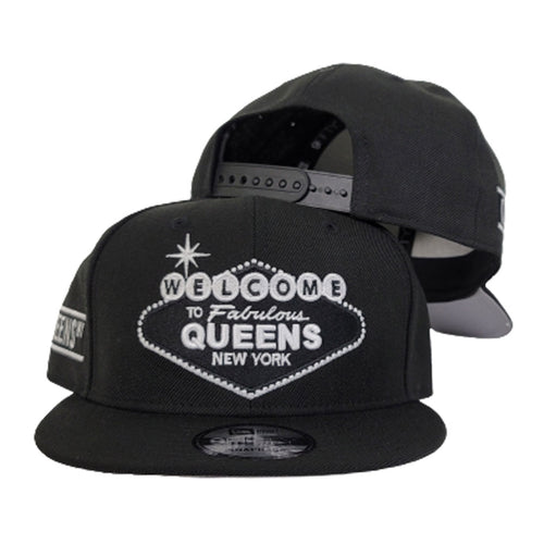 NEW ERA 9FIFTY BLACK WELCOME TO QUEENS SNAPBACK HAT