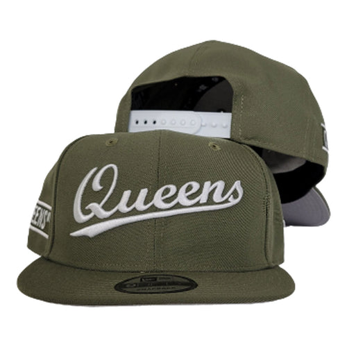 NEW ERA 9FIFTY OLIVE GREEN QUEENS SNAPBACK HAT