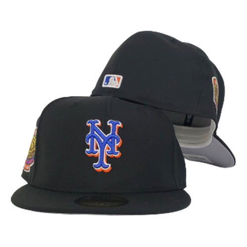 NEW ERA BLACK NEW YORK METS 1964-2008 SHEA STADIUM SIDE PATCH FITTED HAT