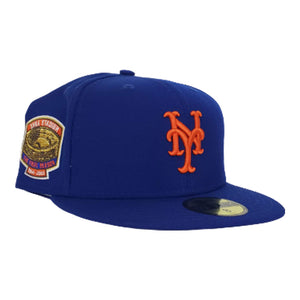 NEW ERA BLUE NEW YORK METS 1964-2008 SHEA STADIUM SIDE PATCH FITTED HAT