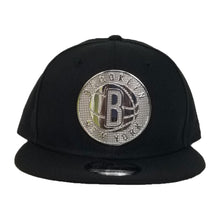Load image into Gallery viewer, NEW ERA BROOKLYN NETS SILVER METAL BADGE RHINESTONE 9FIFTY SNAPBACK