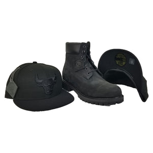 NEW ERA CHICAGO BULLS PATCHED UP TIMBERLAND HOOK BLACK 59FIFTY FITTED