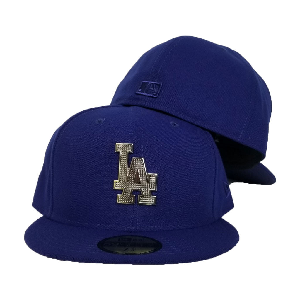 NEW ERA LOS ANGELES DODGERS SILVER METAL BADGE RHINESTONE 59FIFTY FITTED