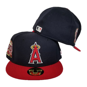 NEW ERA NAVY / RED LOS ANGELES ANGELS 50TH ANNIV. SIDE PATCH FITTED HAT