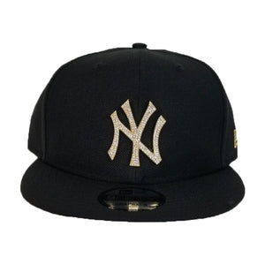 NEW ERA NEW YORK YANKEES BLACK GOLD CRYSTAL DIAMOND RHINESTONE SNAPBACK