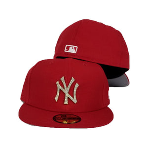 NEW ERA NEW YORK YANKEES RED GOLD CRYSTAL DIAMOND RHINESTONE FITTED HAT