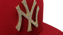 Load image into Gallery viewer, NEW ERA NEW YORK YANKEES RED GOLD CRYSTAL DIAMOND RHINESTONE FITTED HAT