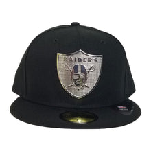 Load image into Gallery viewer, NEW ERA OAKLAND RAIDERS SILVER METAL BADGE RHINESTONE 59FIFTY FITTED