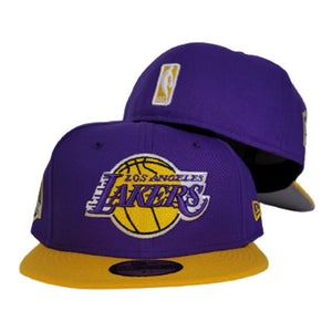 NEW ERA PURPLE / YELLOW 2TONE LOS ANGELES LAKERS NBA CHAMPIONS SIDE PATCH 59FIFTY FITTED