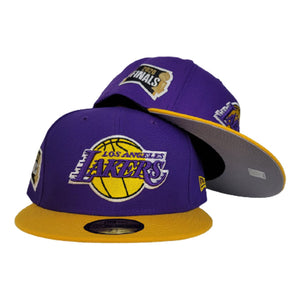 NEW ERA PURPLE / YELLOW 2TONE LOS ANGELES LAKERS NBA FINALS SIDE PATCH 59FIFTY FITTED