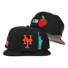 Load image into Gallery viewer, NEW YORK METS BLACK PINK BOTTOM STATUE OF LIBERTY NEW ERA 59FIFTY FITTED HAT
