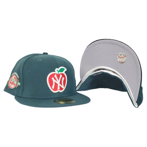 NEW YORK YANKEES DARK GREEN GRAY BOTTOM 100TH ANNIVERSARY BIG APPLE NEW ERA 59FIFTY FITTED