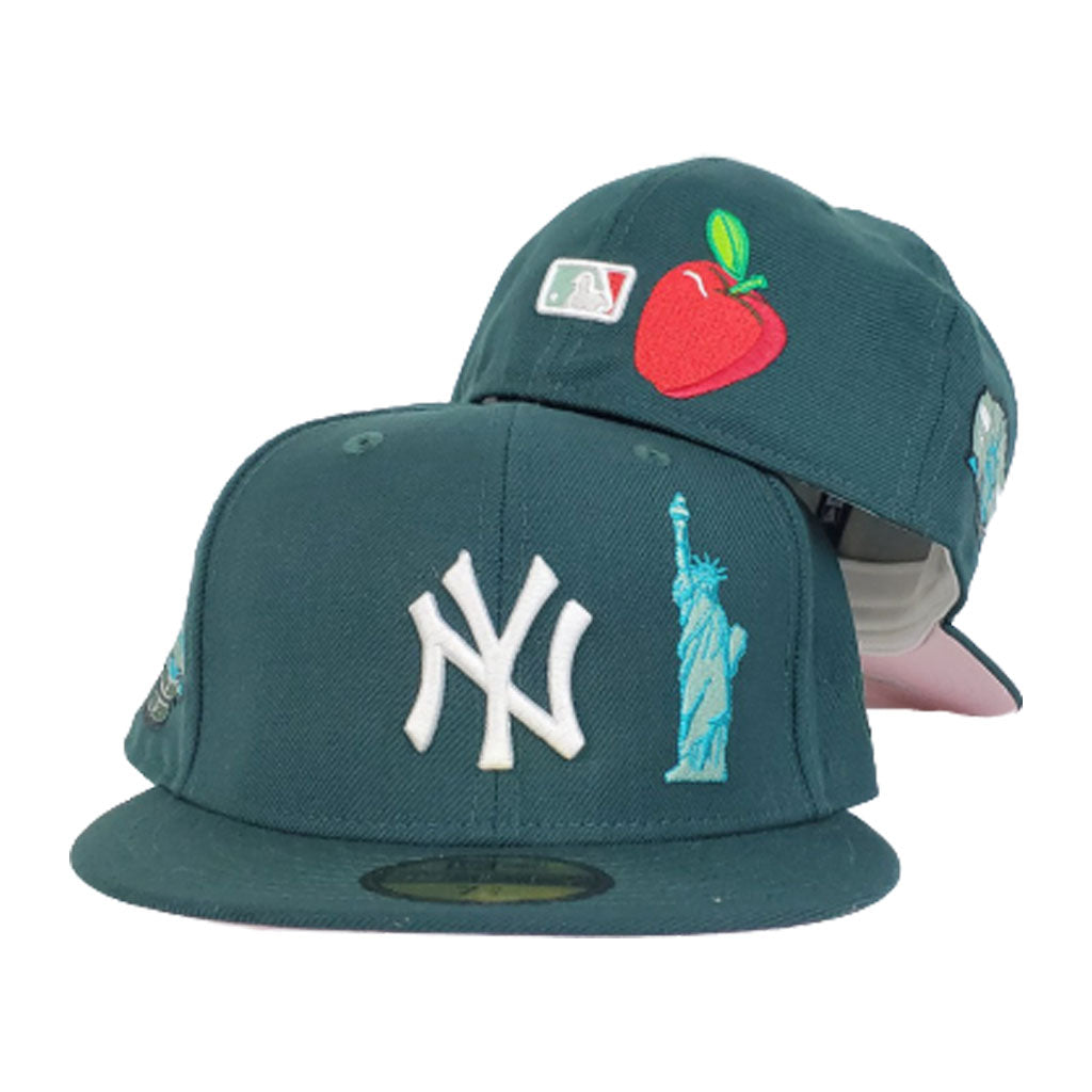 NEW YORK YANKEES DARK GREEN PINK BOTTOM SUBWAY SERIES STATUE OF LIBERTY NEW ERA 59FIFTY FITTED HAT