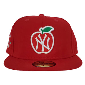 NEW YORK YANKEES SCARLET GRAY BOTTOM 100TH ANNIVERSARY BIG APPLE NEW ERA 59FIFTY FITTED