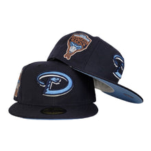 Load image into Gallery viewer, Navy Blue Arizona Diamondbacks Icy Blue Bottom 1998 Inaugural Season New Era 59Fifty Fitted