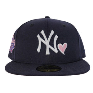 Navy Blue Heart New York Yankees Pink Bottom 1998 World Series New Era 59Fifty Fitted