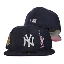 Load image into Gallery viewer, Navy Blue New York Yankees Pink Bottom Statue of Liberty New Era 59Fifty Fitted