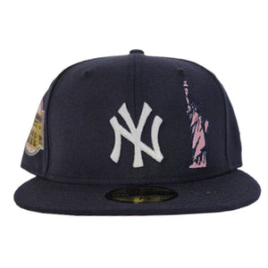 Navy Blue New York Yankees Pink Bottom Statue of Liberty New Era 59Fifty Fitted