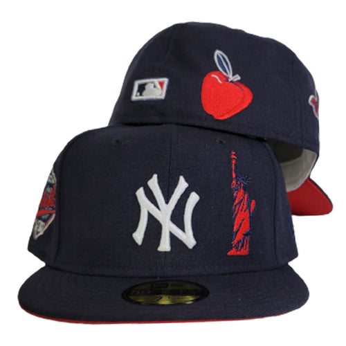 Navy Blue New York Yankees Red Bottom 1996 World Series Statue of Liberty New Era 59Fifty Fitted