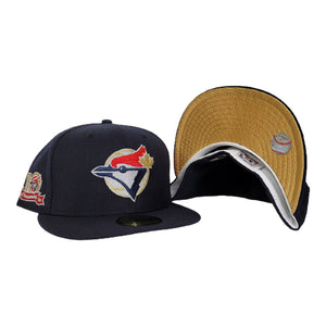 Navy Blue Toronto Blue Jays Gold Bottom 10th Anniversary Side Patch New Era 59Fifty Fitted
