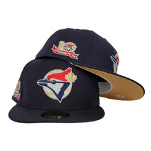Load image into Gallery viewer, Navy Blue Toronto Blue Jays Gold Bottom 10th Anniversary Side Patch New Era 59Fifty Fitted