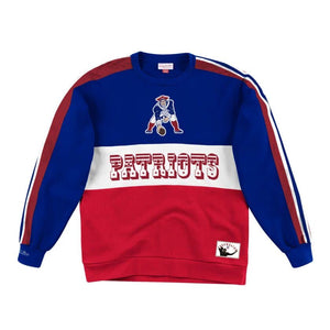 New England Patriots Mitchell & Ness Scorer Fleece Crew Sweatshirt