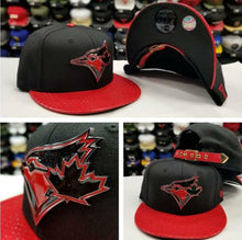 Load image into Gallery viewer, New Era 950 MLB Toronto Blue Jays Black / Red Metal Badge Strapback Hat Snapback