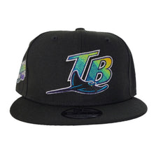 Load image into Gallery viewer, New Era Black Tampa Bay Rays 1998 Inaugural Season Side Patch Snapback