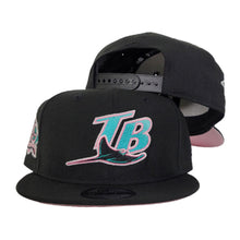 Load image into Gallery viewer, New Era Black Tampa Bay Rays Pink Bottom 10th Season Side Patch Snapback