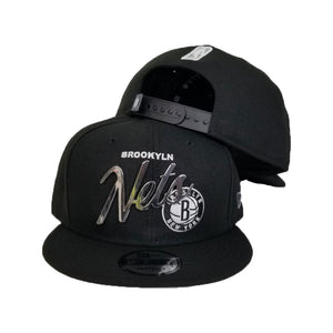 New Era Brooklyn Nets Scrip Silver Metal Badge Logo 9Fifty Snapback