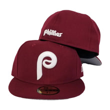 Load image into Gallery viewer, New Era Burgundy Philadelphia Phillies Cooperstown Collection Fitted Hat