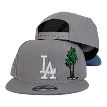 Load image into Gallery viewer, New Era Grey Los Angeles Dodgers Palm Tree Icy Blue Bottom 60th anniversary Snapback