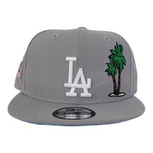 New Era Grey Los Angeles Dodgers Palm Tree Icy Blue Bottom 60th anniversary Snapback