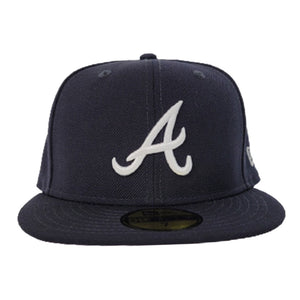 New Era Navy Blue Atlanta Braves Pink Undervisor 59FIFTY Fitted