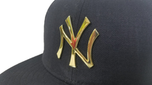 Load image into Gallery viewer, New Era Navy Blue New York Yankees Gold Metal Badge Snapback hat
