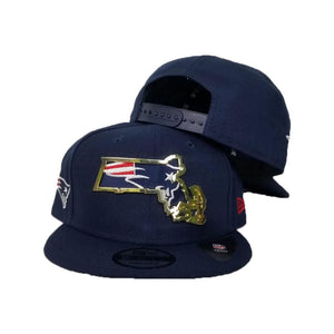 New Era New England Patriots Gold Metal State Map Logo 9FIFTY Snapback