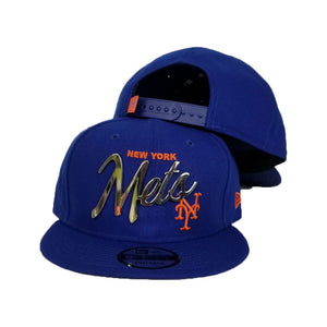 New Era New York Mets Scrip Silver Metal Badge Logo 9Fifty Snapback