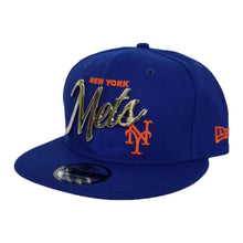 Load image into Gallery viewer, New Era New York Mets Scrip Silver Metal Badge Logo 9Fifty Snapback