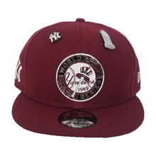 Load image into Gallery viewer, New Era New York Yankees 1949 World Series Metal Badge Dual pin Burgundy Snapback