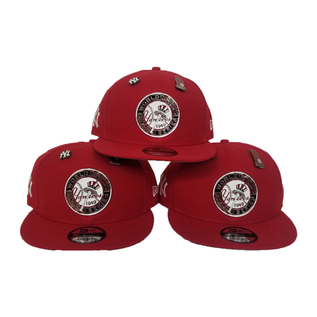 New Era New York Yankees 1949 World Series Metal Badge Dual pin Red Snapback