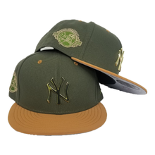 Load image into Gallery viewer, New Era Oilve - Wheat New York Yankees Gold Metal Snapback hat