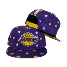 Load image into Gallery viewer, New Era Purple Star Scatter Los Angeles Lakers 9Fifty Snapback hat