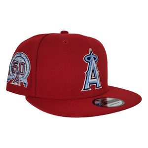 New Era Red Los Angeles Angels 50th Anniversary Icy Blue Bottom 9Fifty Snapback Hat