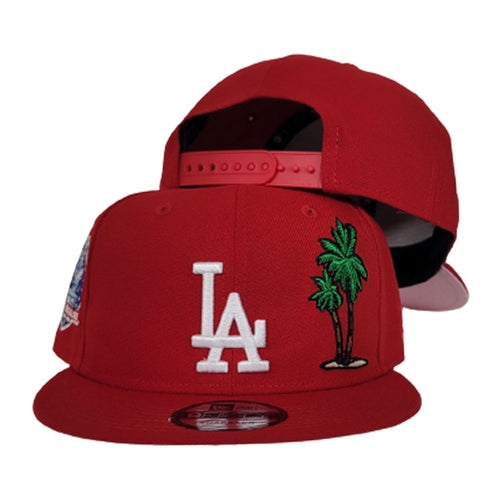 New Era Red Los Angeles Dodgers Palm Tree Icy Blue Bottom 50th anniversary Snapback