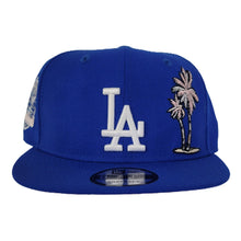 Load image into Gallery viewer, New Era Royal Los Angeles Dodgers Palm Tree Pink Bottom 60th anniversary Side Patch Snapback