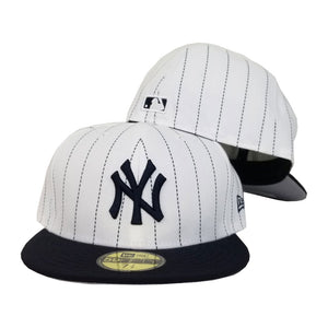New Era White Navy Pinstripe New York Yankees 59Fifty Fitted