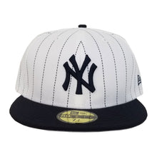 Load image into Gallery viewer, New Era White Navy Pinstripe New York Yankees 59Fifty Fitted