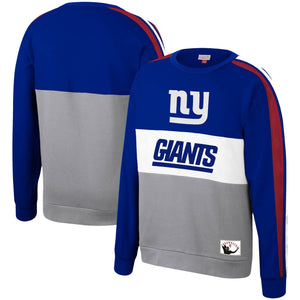 New York Giants Mitchell & Ness Royal Scorer Fleece Crew Sweatshirt