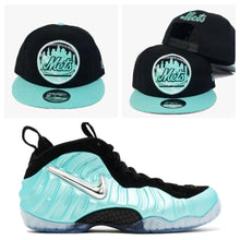 "Load image into Gallery viewer, Matching New Era New York Mets Snapback For Air Foamposite One ""Island Green"""