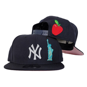 New York Yankees Navy Blue Pink Bottom Statue of Liberty New Era 9Fifty Snapback Hat